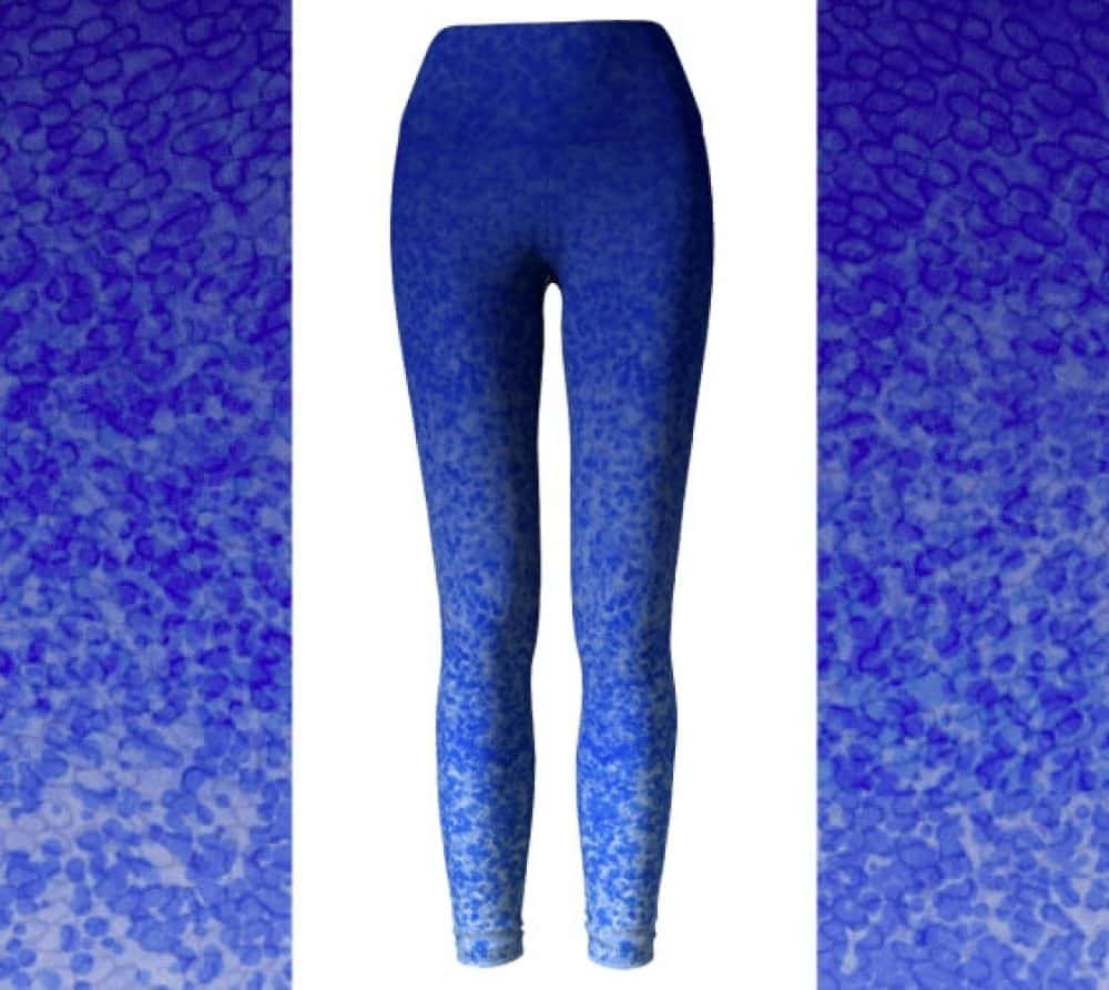 Blue Ombre Watercolor Lace Bubbles High Waisted Yoga Pants