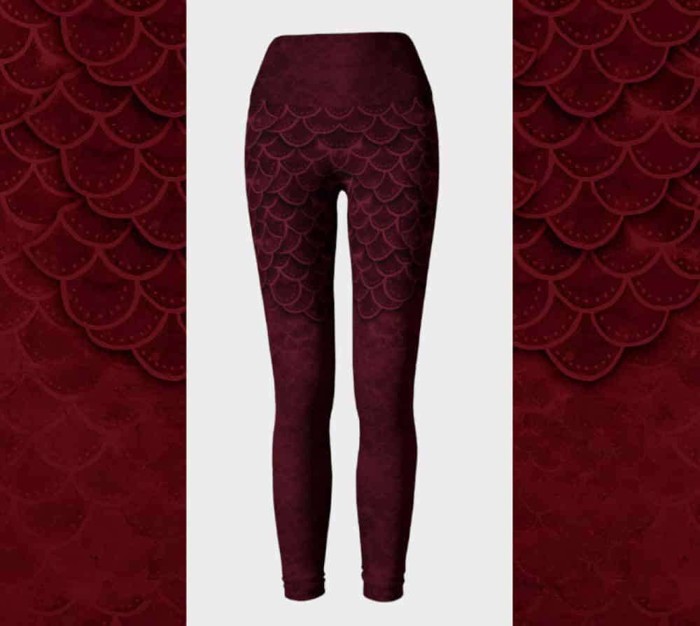 Dark Red Goth Mermaid Leggings