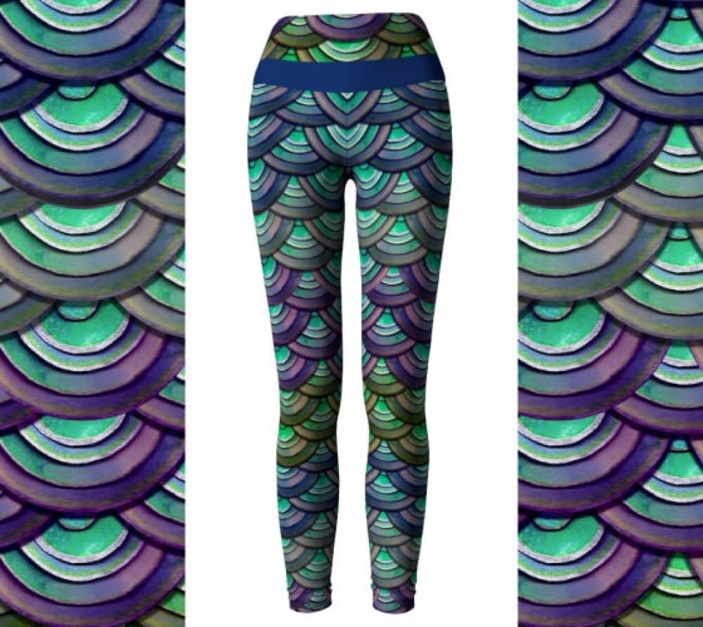 Dragon Scale Leggings / Watercolor Leggings / High Waisted Leggings /  Mermaid Leggings / Yoga Leggings / Mermaid Yoga