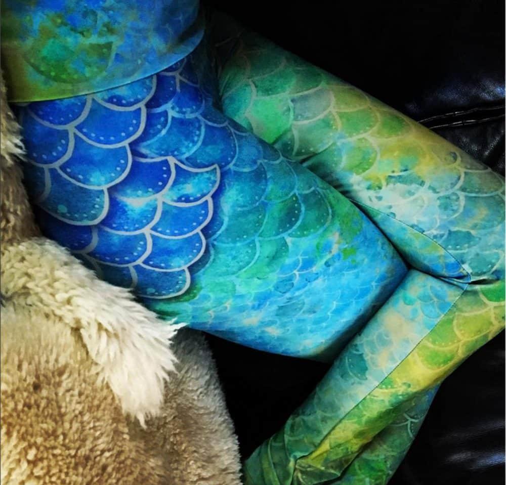 Hand Painted Watercolor Mermaid Leggings