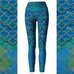 Hand Painted Watercolor Mermaid Leggings