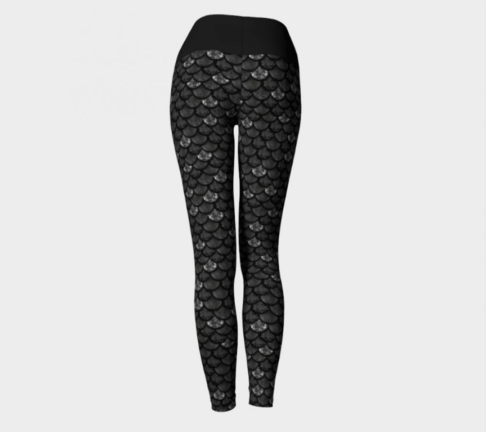 High Waisted Glitter Scale Mermaid Yoga Leggings