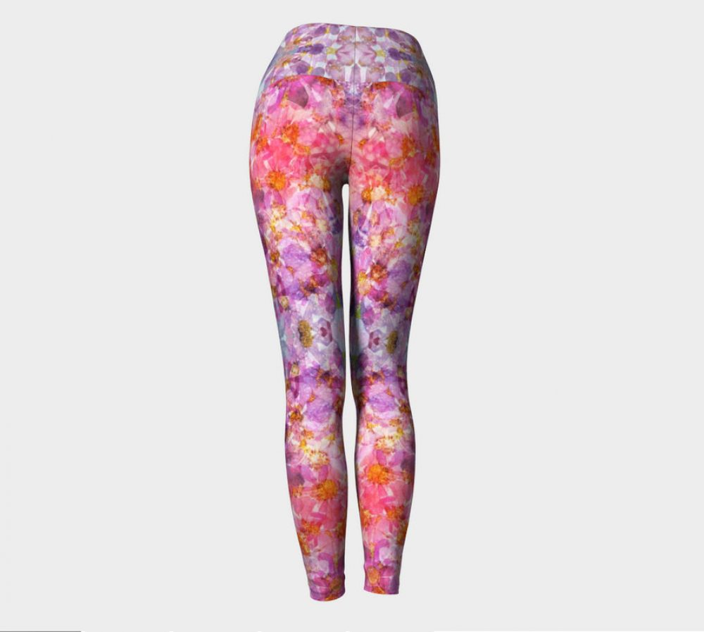 Kaleidoscopic Cosmos Pressed Flower Fractal Yoga Pants