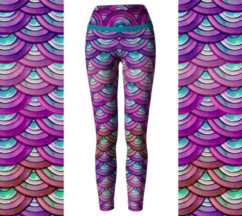 Purple Dragon Leggings/ Mermaid Leggings/ High Waist Yoga Pants / Colorful Leggings / Colorful Leggings/ Women's Leggings