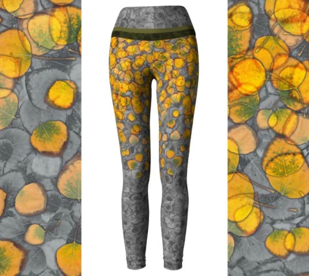 Real Aspen Leaves Eco Friendly Yoga Pants