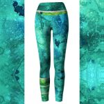 Watercolor Heart Chakra Ocean Mermaid Leggings