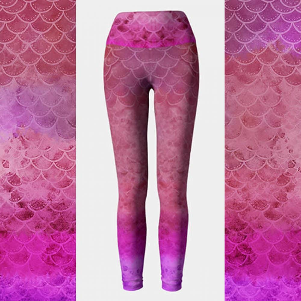 Watercolor Mermaid Scales Leggings