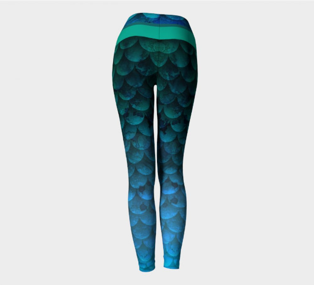 Watercolor Waves Ocean Mermaid Yoga Leggings