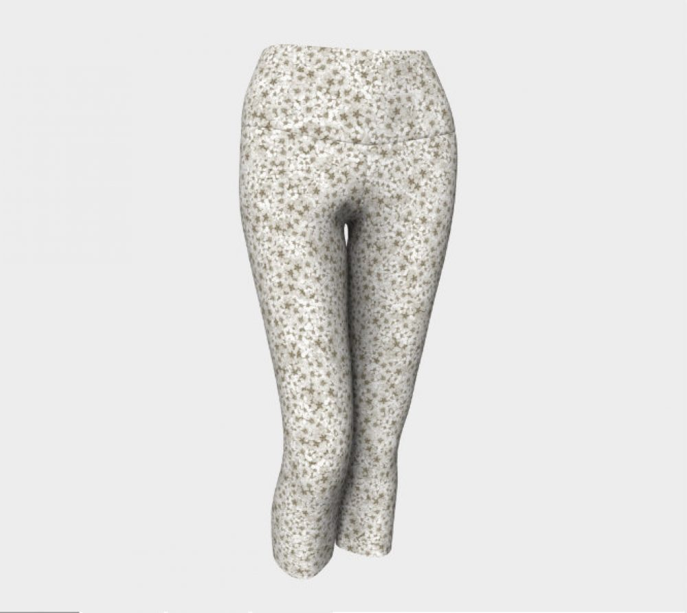White Pressed Flower Leggings
