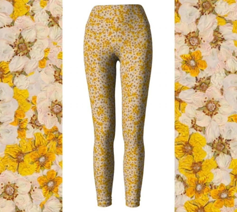 Yellow & White Pressed Flower Leggings